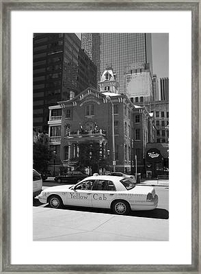 Denver Downtown With Yellow Cab Bw Framed Print by Frank Romeo