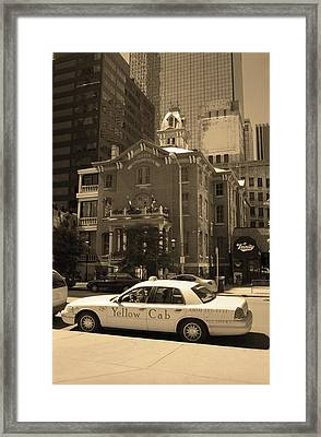 Framed Print featuring the photograph Denver Downtown With Yellow Cab Sepia by Frank Romeo