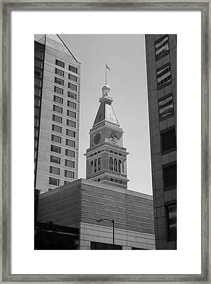 Denver - Historic D And F Clocktower 2 Bw Framed Print by Frank Romeo