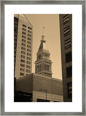 Framed Print featuring the photograph Denver - Historic D F Clocktower 2 Sepia by Frank Romeo