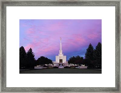 Denver Lds Temple At Sunrise Framed Print
