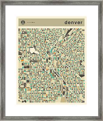 Denver Map 2 Framed Print by Jazzberry Blue