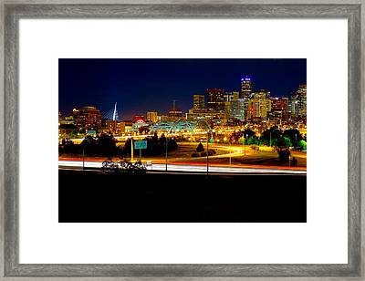Denver Night Skyline Framed Print by James O Thompson