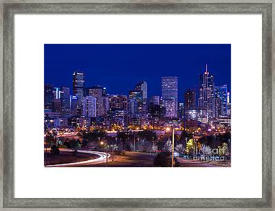 Denver Skyline At Night - Colorado Framed Print
