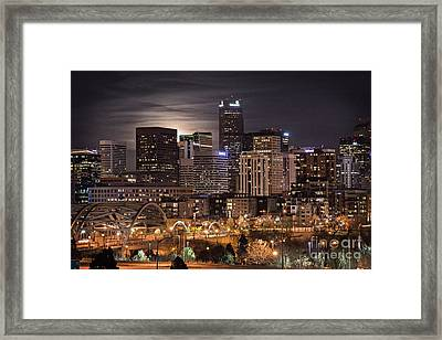 Denver Skyline At Night Framed Print