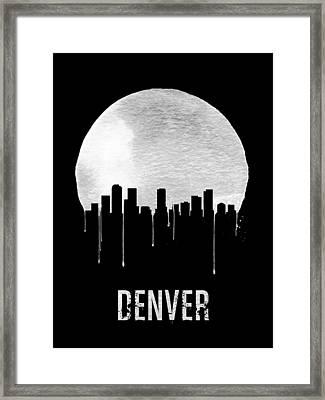 Denver Skyline Black Framed Print by Naxart Studio