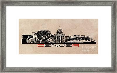 Denver Skyline City Framed Print by Justyna JBJart