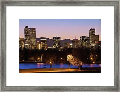 Denver Skyline - City Park View Framed Print by Gregory Ballos