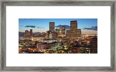 Denver Skyline Evening Panoramic Framed Print by Steve Mohlenkamp
