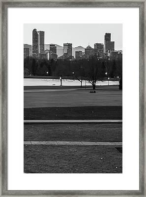 Denver Skyline In The Distance - Black-white Framed Print