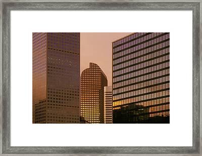 Denver Skyline Of Glass Framed Print by Steve Mohlenkamp