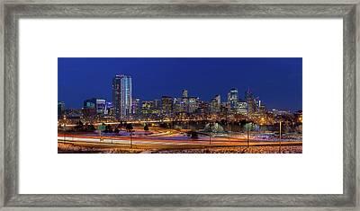 Denver Skyline Panorama At Blue Hour Framed Print