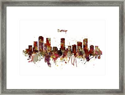 Denver Skyline Silhouette Framed Print by Marian Voicu