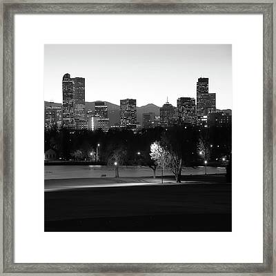 Framed Print featuring the photograph Denver Skyline Square Format - Black And White by Gregory Ballos