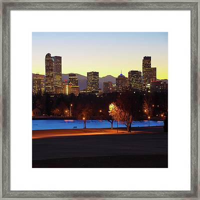 Framed Print featuring the photograph Denver Skyline Square Format - Colorful by Gregory Ballos