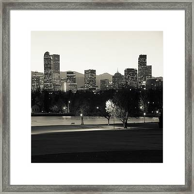 Framed Print featuring the photograph Denver Skyline Square Format - Monochrome by Gregory Ballos