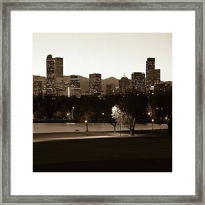 Framed Print featuring the photograph Denver Skyline Square Format - Sepia by Gregory Ballos