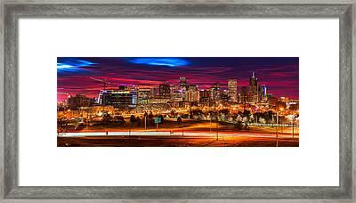 Denver Skyline Sunrise Framed Print