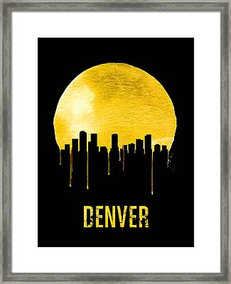 Denver Skyline Yellow Framed Print by Naxart Studio