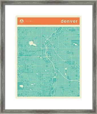 Denver Street Map Framed Print