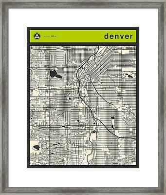 Denver Street Map Framed Print by Jazzberry Blue