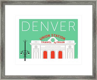 Denver Union Station/aqua Framed Print