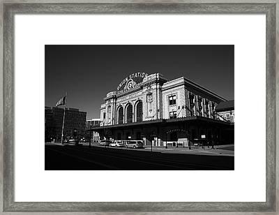 Denver - Union Station Bw Framed Print by Frank Romeo