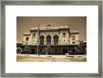 Framed Print featuring the photograph Denver - Union Station Sepia 5 by Frank Romeo