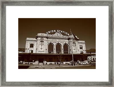 Denver - Union Station Sepia Framed Print by Frank Romeo
