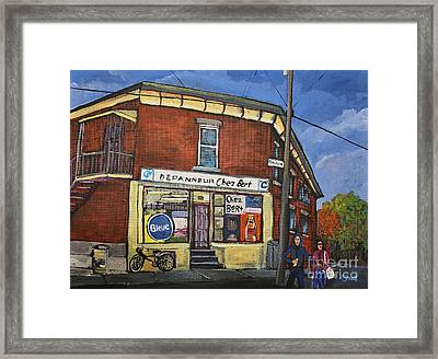 Depanneur Chez Bert Montreal Framed Print by Reb Frost