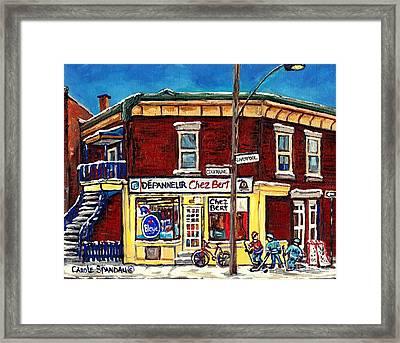 Depanneur Chez Bert Montreal Winter Scenes Hockey Art Canadian Paintings Carole Spandau             Framed Print