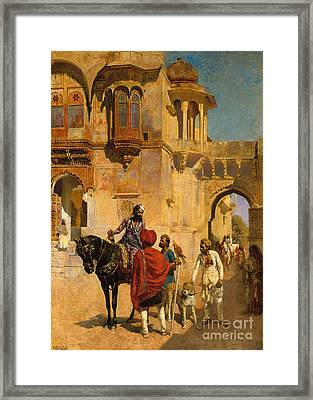 Departure For The Hunt In The Forecourt Of A Palace Of Jodhpore Framed Print by Edwin Lord Weeks