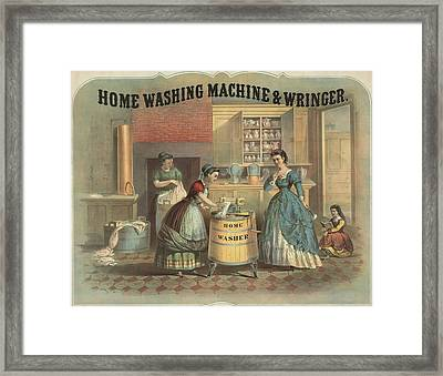 Depiction Of A Laundress Using Framed Print by Everett