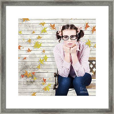 Depressed Businesswoman In A Networking Crisis Framed Print