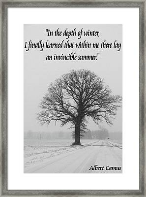 Depth Of Winter Quote Framed Print by Dan Sproul