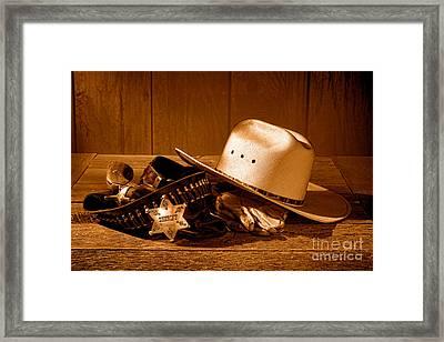 Deputy Sheriff Gear - Sepia Framed Print by Olivier Le Queinec