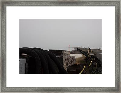 Derby Wharf Lighthouse In Fog Framed Print