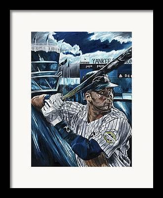 Derek Jeter New York Yankees Baseball Mlb Shortstop Hitter David Courson Framed Prints