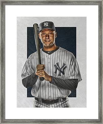 Derek Jeter New York Yankees Art Framed Print by Joe Hamilton