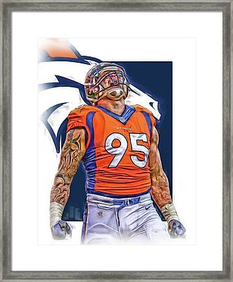 Derek Wolfe Denver Broncos Oil Art Framed Print