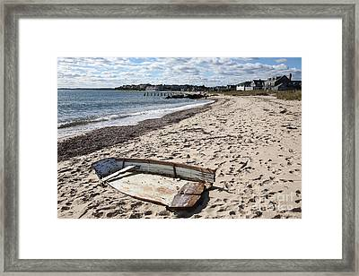 Derelict  Boat, Falmouth Beach Framed Print by Bryan Attewell