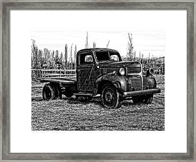 Derelict Dodge Bw Framed Print