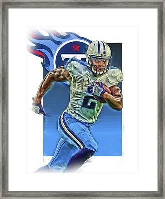 Derrick Henry Tennessee Titans Jersey Number 2 Oil Art Framed Print by Joe Hamilton