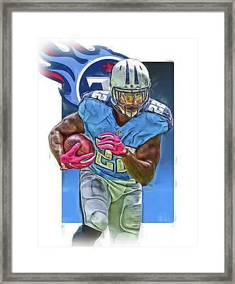 Derrick Henry Tennessee Titans Jersey Number 22 Oil Art Framed Print by Joe Hamilton