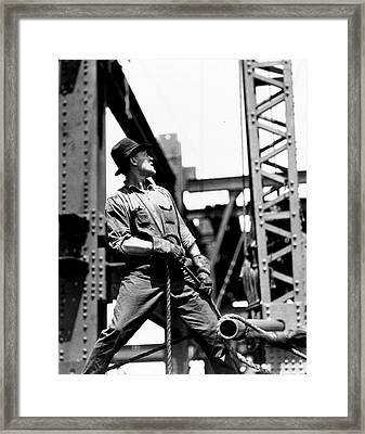 Derrick Man   Empire State Building Framed Print by LW Hine