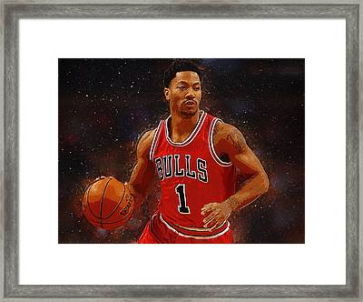 Derrick Rose Framed Print by Semih Yurdabak