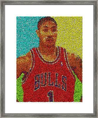 Derrick Rose Skittles Mosaic Framed Print by Paul Van Scott