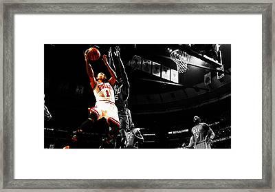 Derrick Rose The Raging Bull Framed Print by Brian Reaves