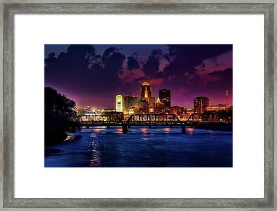 Des Moines At Dusk Framed Print by Tony Walker