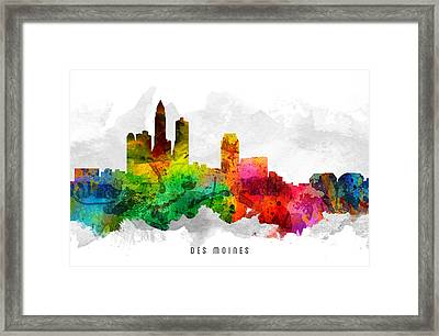 Des Moines Iowa Cityscape 12 Framed Print by Aged Pixel